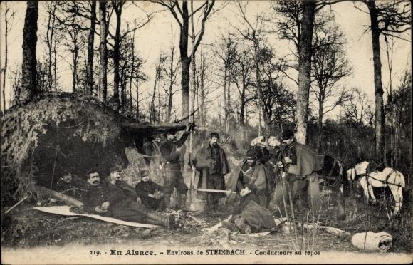 Ak Steinbach Elsass Haut Rhin, Conducteurs au repos, Französische Soldaten, I. WK