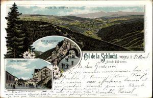 Litho Neubois Gereuth Elsass Bas Rhin, Col de la Schlucht, Vallee de Munster, Hotel Defranoux