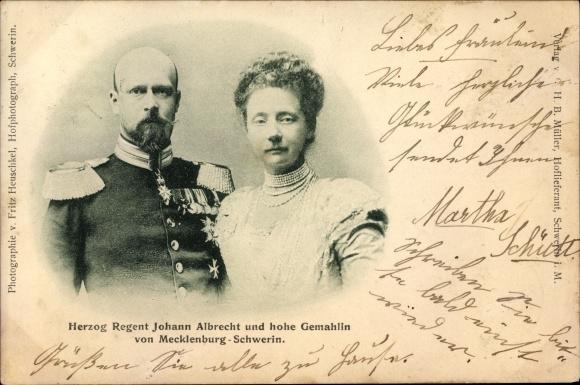 Ak Herzog Regent Johann Albrecht von Mecklenburg Schwerin, Herzogin, Portrait