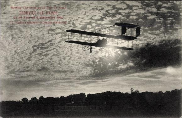 Ak Meeting d'Aviation de la Baie de Seine 1910, Trouville-Le Havre, Biplan, Champ d'Aviation