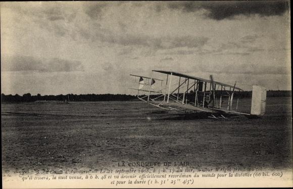 Ak La Conquête de l'Air, Camp d'Auvours, Wilbur Wright, Biplan