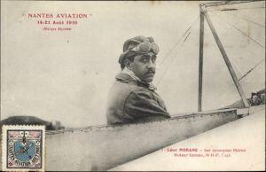 Ak Nantes Aviation 1910, Léon Morane, Sur Monoplan Blériot, Moteur Gnôme