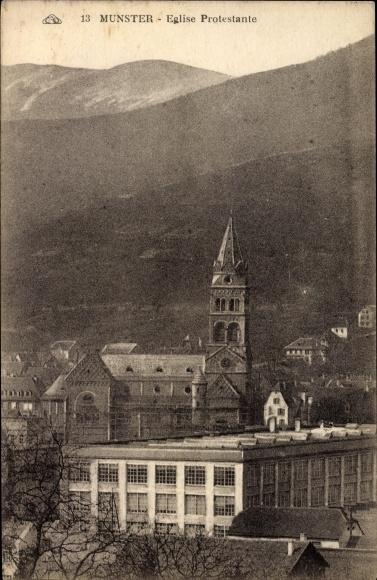 Ak Munster Münster Elsaß Elsass Haut Rhin, Eglise Protestante, Blick auf Evang. Kirche