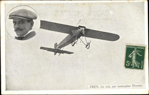 Ak Aviateur Frey, en vol sur monoplan Morane, Flugpionier