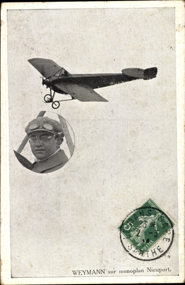 Ak Aviateur Weymann sur monoplan Nieuport, Flugpionier