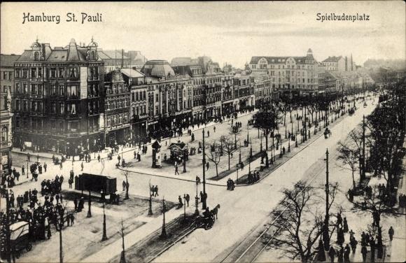 Ak Hamburg Mitte St. Pauli, Partie auf dem Spielbudenplatz
