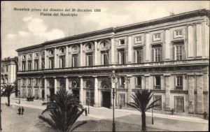 Ak Messina Sicilia Sizilien, Prima del disastro del 28 dicembre 1908, Piazza del Municipio