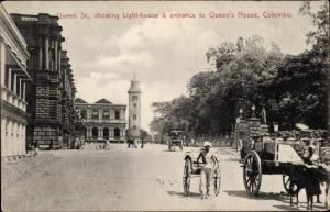 Ak Colombo Ceylon Sri Lanka, Queen Street showing lighthouse and entrance to Queen's House
