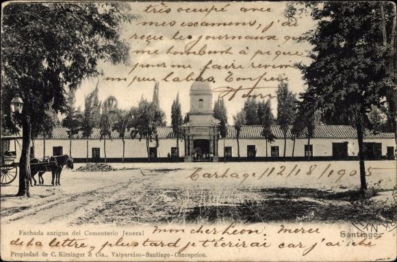 Ak Santiago de Chile, Fachada antigua del Cementerio General