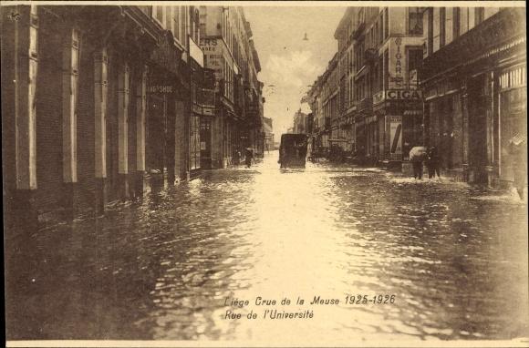 Ak Liège Lüttich Wallonien, Crue de la Meuse 1925-1926, Rue de l'université