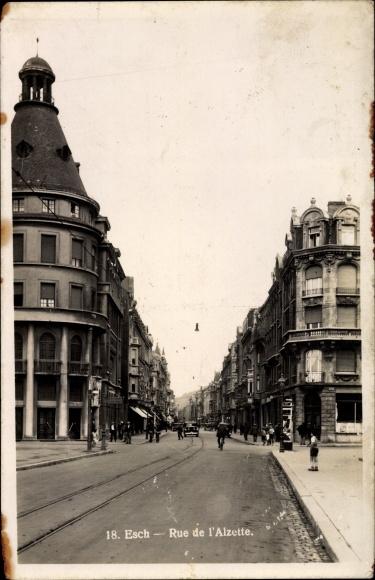 Ak Esch an der Alzette Luxemburg, Rue de l'Alzette, Straßenpartie