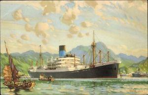 Künstler Ak Thomas, Walter, Dampfschiff der Blue Funnel Line, Steamer