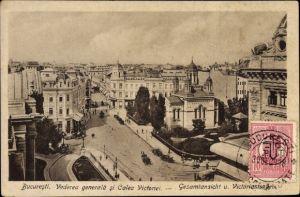 Ak București Bukarest Rumänien, Vederea generala si Calea Victoriei, Victoriastraße