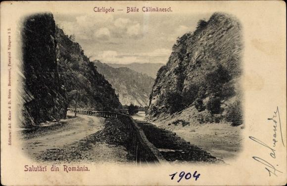 Ak Baile Călimănești Cârligele Rumänien, Straße in einer Schlucht