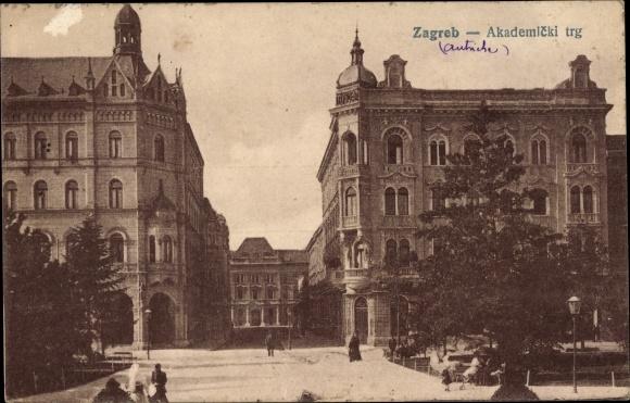 Ak Zagreb Kroatien, Akademicki trg, Akademischer Platz