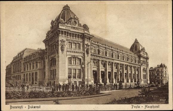 Ak București Bukarest Rumänien, Posta, Hauptpost, Außenansicht