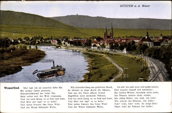 Ak Höxter in Nordrhein Westfalen, Blick auf den Ort mit Umgebung, Weserlied
