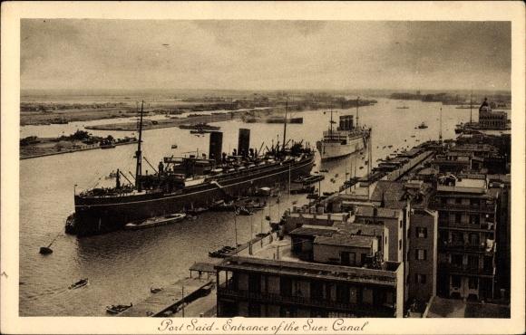 Ak Port Said Ägypten, Entrance of the Suez Canal, Blick auf den Suezkanal, Dampfer