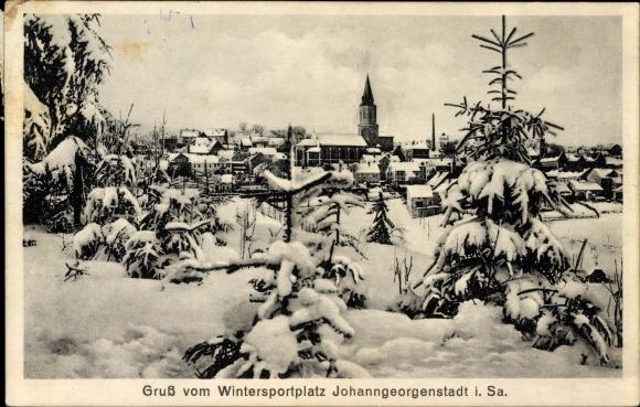 Ak Johanngeorgenstadt im Erzgebirge Sachsen, Winterzauber, Teilansicht vom Ort