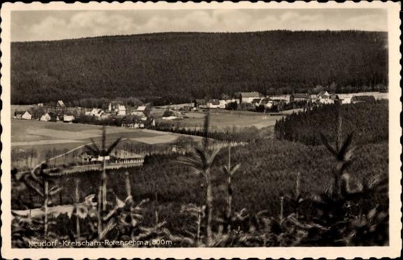Ak Neudorf Kretscham Rotensehma Sehmatal Erzgebirge, Blick auf den Ort mit Umgebung