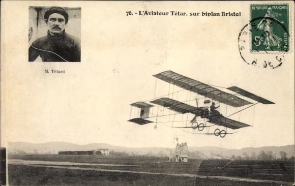 Ak L'Aviateur Tétar, sur biplan Bristol, M. Tetard, Portrait, Flugzeug und Pilot