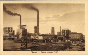 Ak Wanne Eickel Herne im Ruhrgebiet, Blick auf die Zeche Unser Fritz, Fabrikschächte