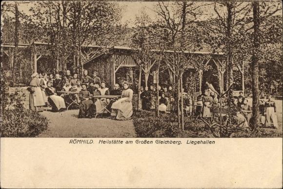 Ak Römhild in der Region Grabfeld Thüringen, Heilstätte am Großen Gleichberg, Blick auf Liegehallen