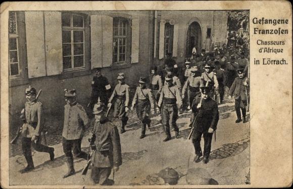 Ak Lörrach in Baden Württemberg, Gefangene Franzosen, Chasseurs d'Afrique