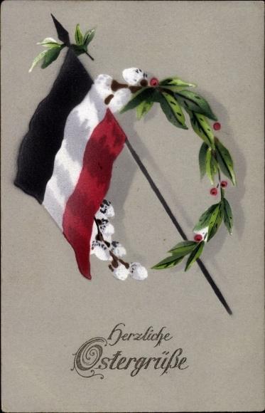 Ak Glückwunsch Ostern, Fahne, Kranz aus Weidenkätzchen und Lorbeer