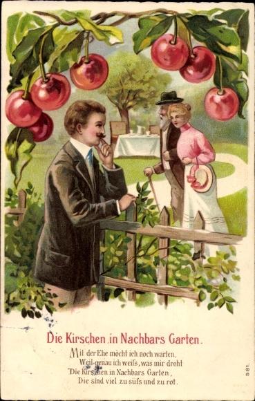 Präge Litho Die Kirsche in Nachbars Garten, Mann beobachtet junge Frau