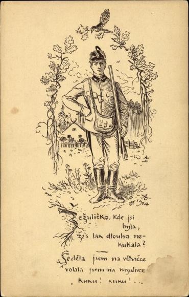 Künstler Ak Tschechischer Soldat in Uniform mit Gewehr