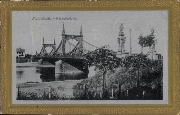 Präge Passepartout Ak Mannheim in Baden Württemberg, Blick auf die Neckarbrücke