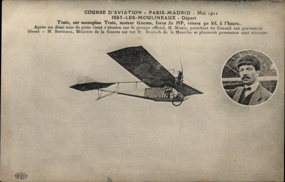 Ak Course d'Aviation, Paris Madrid 1911, Train sur Monoplan Train, moteur Gnome