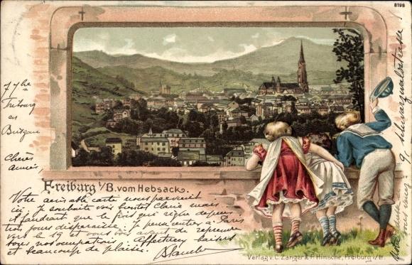 Präge Passepartout Litho Freiburg im Breisgau Baden Württemberg, Blick vom Hebsack