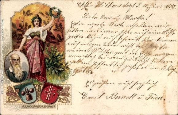 Litho Turnvater Jahn, Wappen, Viktoria mit Siegeskranz, Turnen, Hantel
