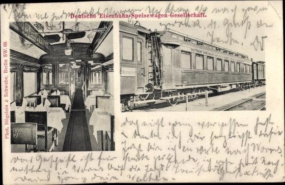 Ak Deutsche Eisenbahn Speisewagengesellschaft, Innenansicht vom Speisewagen
