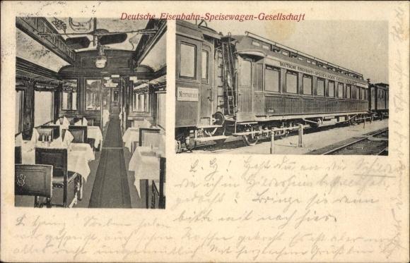 Ak Deutsche Eisenbahn Speisewagengesellschaft, Innenansicht von einem Speisewagen