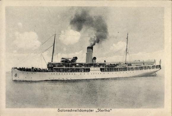 Ak Salonschnelldampfer Hertha in voller Fahrt, Reederei Braeunlich Stettin