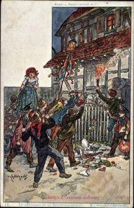 Künstler Ak Kauffmann, P., Usages & Costumes d'Alsace, Elsässer Trachten u. Bräuche, Le Charivari