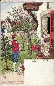 Künstler Ak Kauffmann, P. Usages et Costumes d'Alsace, Sapin de Mai, Elsässer Trachten