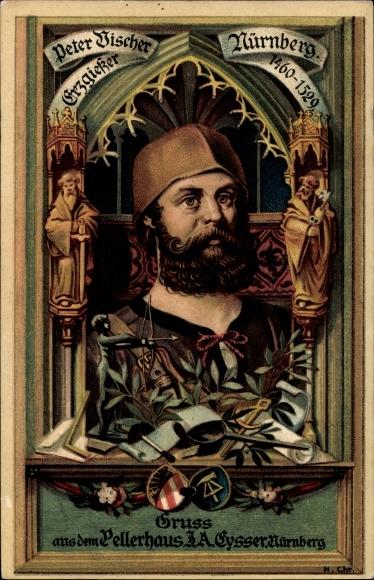 Künstler Litho Chr., H., Nürnberg in Mittelfranken Bayern, Gruss aus dem Pellerhaus, Peter Discher
