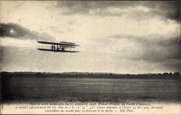 Ak La Conquete de l'Air, Wilbur Wright au Camp d'Auvours 1908, Luftfahrtpionier,Flugzeug in der Luft