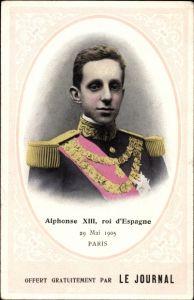 Passepartout Ak König Alfons XIII von Spanien, Alphonse XIII, roi d'Espagne, Paris, 29.05.1905