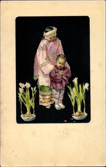 Litho China, Chinesisches Mädchen und Junge in traditioneller Tracht