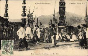 Ak Laos, Une Procession Bouddhique aux Hua Pahn, Buddhistische Prozession