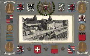 Präge Wappen Passepartout Ak Bettemburg Luxemburg, La gare, perron, Bahnhof von der Gleisseite