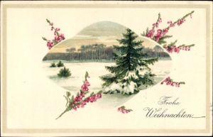 Präge Litho Glückwunsch Weihnachten, Schneebedeckter Tannenbaum in Winterlandschaft