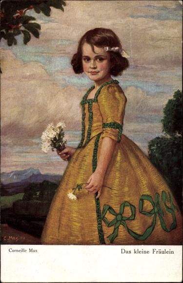 Künstler Ak Corneille, Max, Das kleine Fräulein, Mädchen in elegantem Kleid, Primus