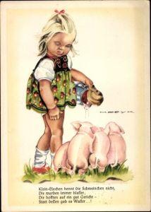 Künstler Ak Peyk, Hilla, Mädchen füttert Schweine, Klein Elschen kennt die Schweinchen nicht