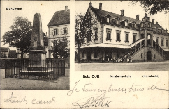 Ak Soultz Haut Rhin Sulz Elsass Haut Rhin, Monument, Knabenschule, Kornhalle